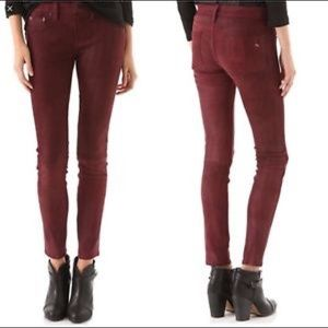rag & bone Wine Lamb Leather Skinny Jeans